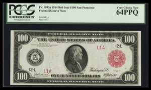 1914 San Francisco Serial Number One Red Note