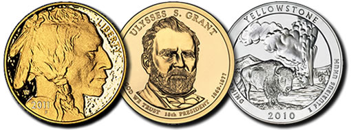 $50 Gold Buffalo Coin, Ulysses S. Grant Dollar, Yellowstone Silver Uncirculated Coin