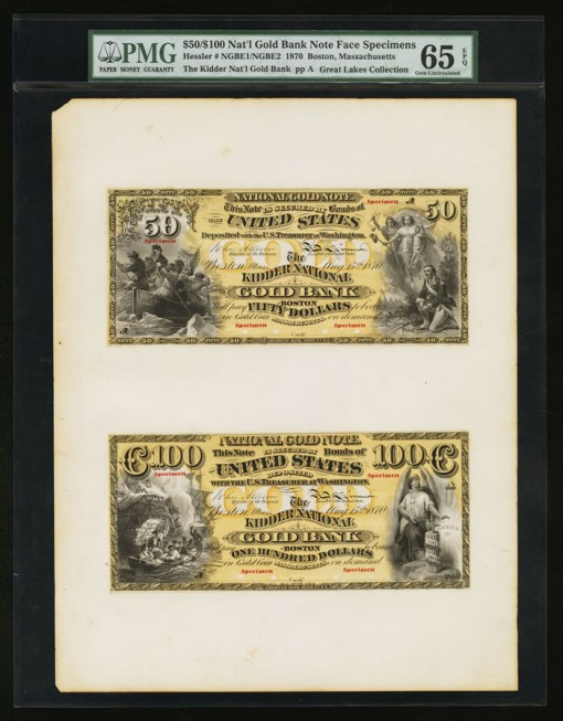 $50 and $100 Kidder National Gold Bank Specimens