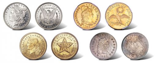 Four of many rare coins in Heritage June 2011 Long Beach Auction