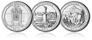 Hot Springs, Gettysburg and Glacier ATB Coins
