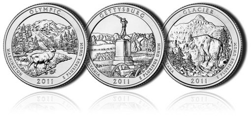 Olympic, Gettysburg and Glacier America the Beautiful Coins