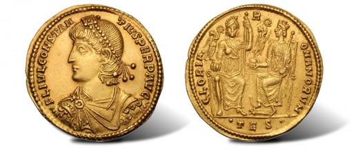 Roman Emperor Constantius II gold medallion