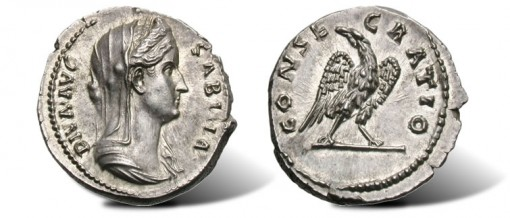Senarius of Diva Sabina ancient coin