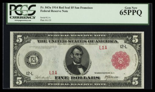Serial Number One San Francisco $5 Red Seal