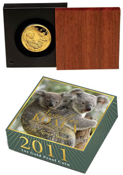 2011 Australian Koala Gold Proof Coin Packaging