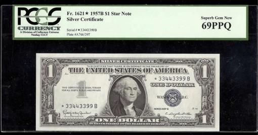Fr  1621 $1 1957B star 69PPQ