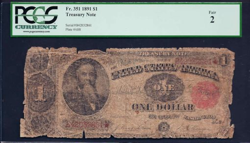 Fr  351 1891 $1 Treasury Note Fair 2
