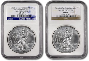 San Francisco Mint American Silver Eagle NGC Labels