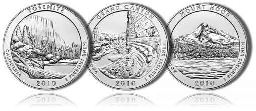 Yosemite, Grand Canyon, and Mount Hood 5 Oz Silver Uncirculated Coins
