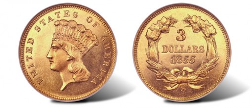 1855-S proof $3 gold coin