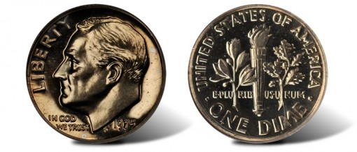1975 Proof Dime Without S Mintmark