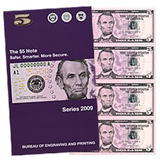Series 2009 $5 Uncut Currency Sheets