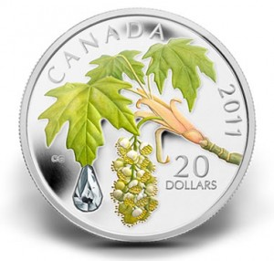 2011 $20 Bigleaf Maple Leaf Crystal Raindrop Silver Coin