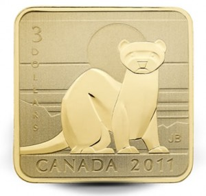 2011 $3 Black Footed Ferret Gold-Plated Silver Coin