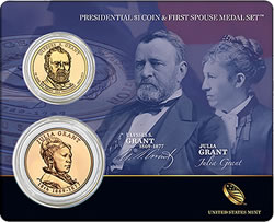 Ulysses S. Grant Presidential $1 Coin & Julia Grant First Spouse Medal Set