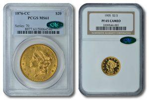 1876-CC Liberty Double Eagle and 1905 Liberty Quarter Eagle Gold Coins