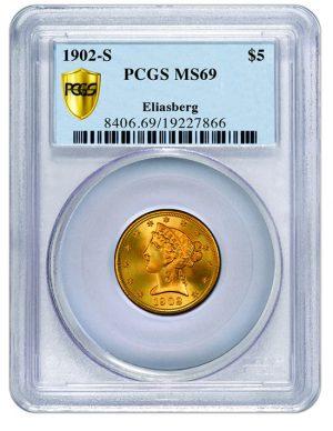 1902-S $5 MS69