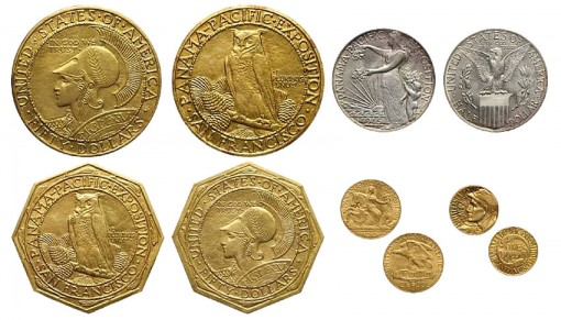 1915 Panama-Pacific Five-Coin Set