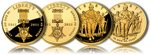 2011 Medal of Honor and US Army Commemorative Gold Coins