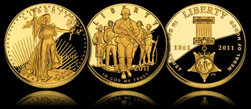 2011 Proof Gold Coins - $50 American Gold Eagle, $5 U.S. Army and $5 Medal of Honor