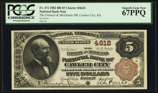 $5 1882 Brown Back Fr. 472 The Farmers & Merchants NB Ch. # 4618