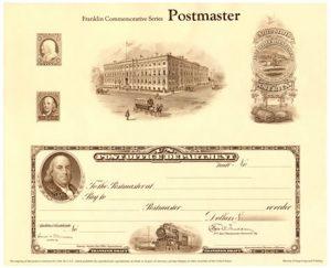 Franklin Commemorative Postmaster Intaglio Print