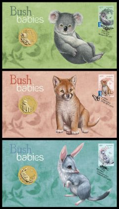 Koala, Dingo, and Bilby Stamp and Coin Covers