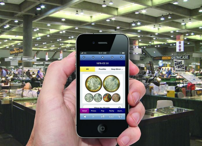 PCGS Mobile CoinFacts on a smart phone