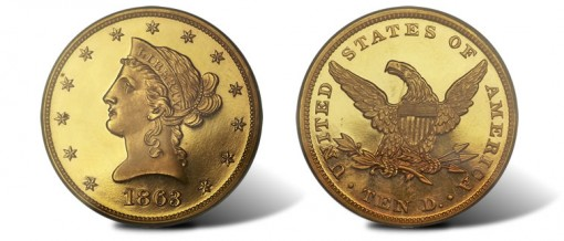 Rare Gem Proof Deep Cameo 1863 Eagle