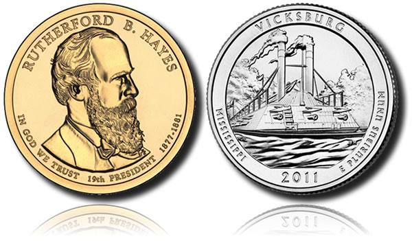 Rutherford B. Hayes $1 and Vicksburg National Military Park Quarter