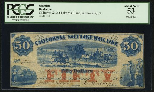 Salt Lake City, UT- California and Salt Lake Mail Line $50 1863