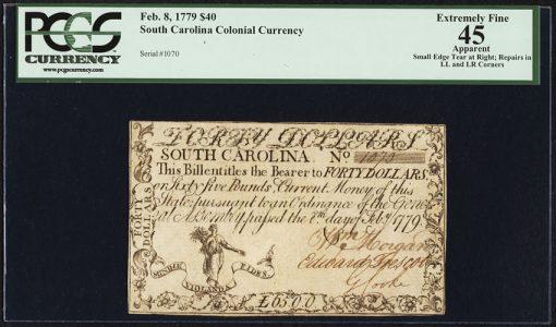South Carolina February 8, 1779 $40