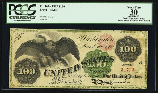 1862 $100 Spread Eagle note