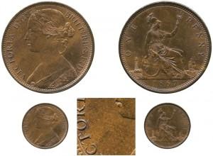 1867 Victoria Bronze Penny