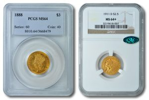 1888 $3 Gold and 1911 Indian Quarter Eagle Coin