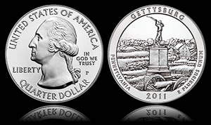 2011-P Gettysburg National Military Park Five Ounce Silver Uncirculated Coin