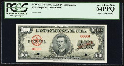 Cuba Republic 10,000 Pesos 1950 Pick 85s Specimen