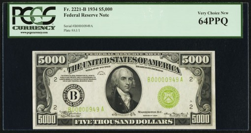 Fr. 2221-B $5000 1934 Federal Reserve Note