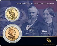 Hayes Presidential $1 Coin & First Spouse Medal Set
