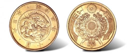 Meiji gold Pattern 10 Yen Year 3 (1870)