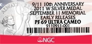NGC Label for September 11 National Medals