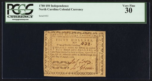 North Carolina 1780 $50 Independence