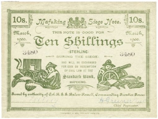 South African 10-Shilling banknote
