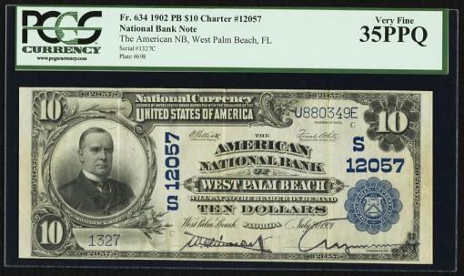 West Palm Beach, FL - $10 1902 Plain Back