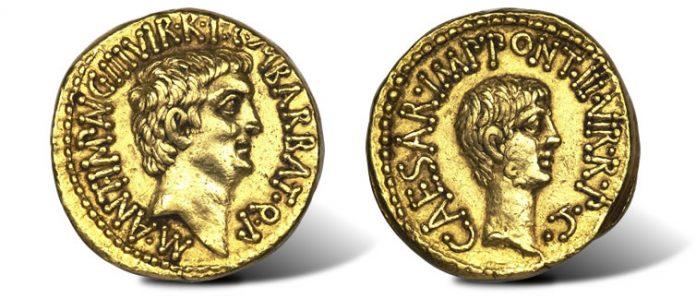 ancient gold aureus of Marc Antony and Octavian