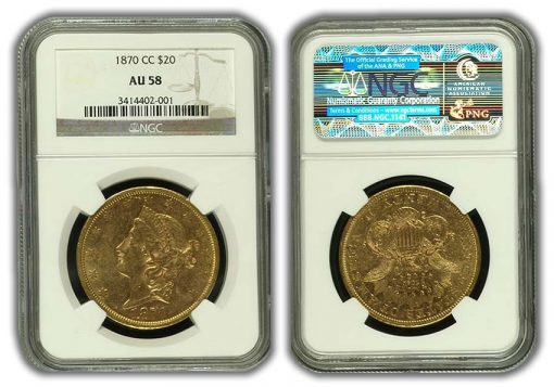 1870-CC $20 Liberty Double Eagle Gold Coin