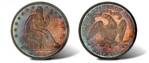 1874 Seated Liberty Half Dollar