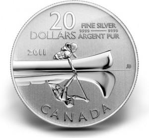 2011 $20 Canoe Silver Coin