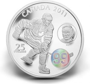 2011 $25 Wayne and Walter Gretzky Silver Hologram Coin